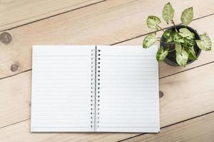 caderno e planta no fundo da mesa de madeira foto