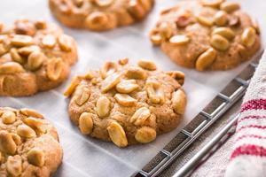uma fotografia close-up de alguns biscoitos de amendoim foto