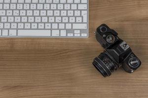 teclado da câmera em uma área de trabalho foto