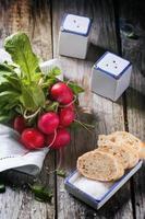 rabanetes frescos com pão foto