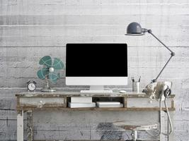mock up monitor na mesa, plano de fundo concreto