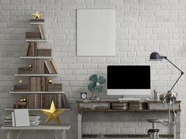 mock up pc, livraria, escritório loft foto