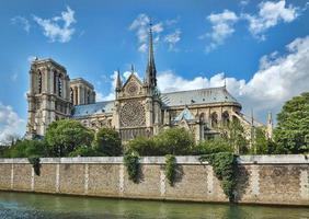 Notre Dame (Paris) ao longo do rio Sena foto