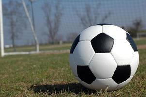 bola de futebol no campo com rede foto