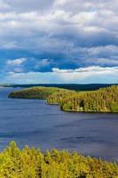 natureza, vista das montanhas para os lagos e florestas