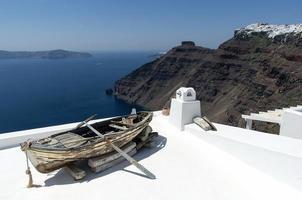 vista de oia dos telhados brancos foto