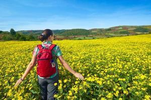 turista jovem caminha sobre o fundo de campos coloridos.