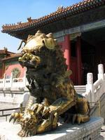 estátua de leão dourado, cidade proibida, beijing