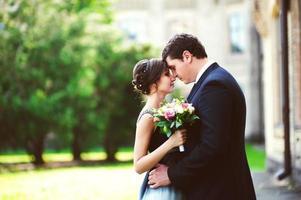 casal feliz amando um ao outro. imagem tonificada foto