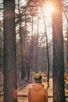 mulher jovem e bonita apreciando a natureza na floresta foto