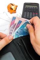 polonês notas na carteira. composição financeira e de receitas foto