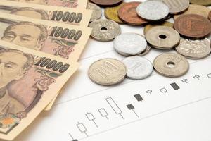 gráfico de preços das ações e moeda japonesa foto