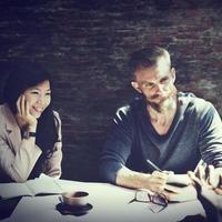conceito de reunião de designer de interiores de arquitetura de negócios