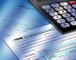 formulário de imposto de renda 1040 com calulator foto