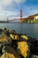 ponte golden gate em san francisco pela manhã após o nascer do sol