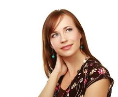 mulher pensativa - isolada sobre fundo branco foto