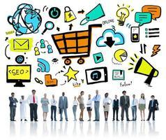 diversidade pessoas de negócios marketing on-line equipe profissional con foto