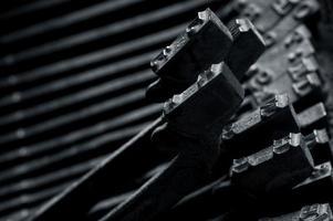 detalhe de máquina de máquina de escrever antiga foto