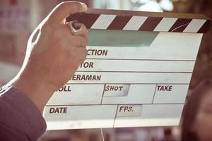 ardósia de filme no set foto