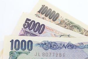 notas de iene japonês close-up para o conceito de finanças foto