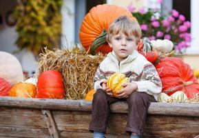 garotinho sentado no canteiro de abóboras foto