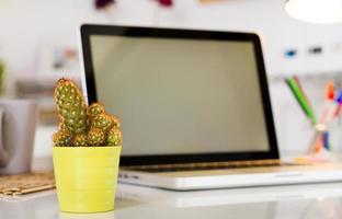 cacto na mesa de escritório com computador foto