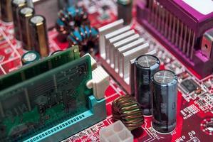 placa-mãe do computador com slots de memória, macro foto