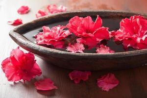 flores de azaléia na tigela para spa de aromaterapia foto