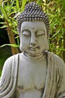 escultura de Buda com folhas de bambu no fundo
