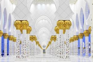 interiores da mesquita sheikh zayed, abu dhabi foto