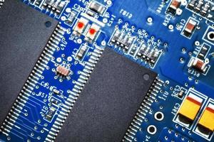 close-up da placa de circuito eletrônico. macro. foto