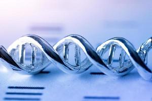 modelo molecular, dna e átomo no laboratório de pesquisa científica foto