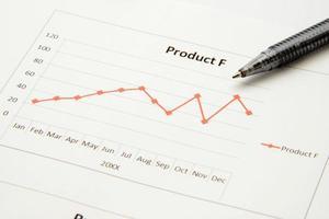 gráfico de negócios para reunião e caneta foto