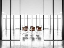 sala de reuniões com janelas panorâmicas e poltronas. 3d rendem foto