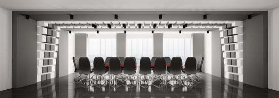 panorama moderno da sala de reuniões 3d foto