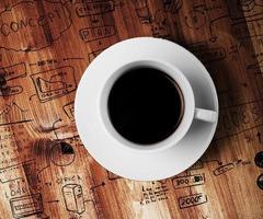 xícara de café e desenho de estratégia de negócios foto