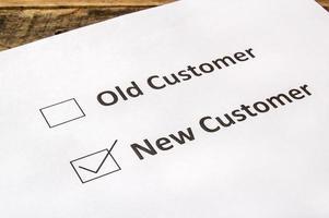 cliente antigo e novo cliente para caixas de seleção foto