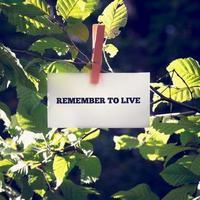 lembre-se de viver uma mensagem inspiradora escrita em um cartão foto