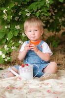 garotinho no verão com morangos