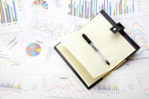 gráfico de negócios e organizador pessoal foto
