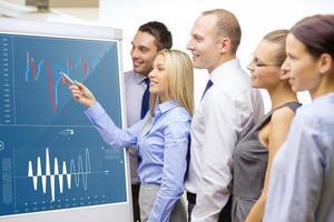 equipe de negócios com gráfico de forex no flip board foto