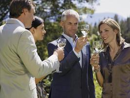 pessoas bebendo vinho.
