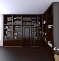 Renderização em 3d. sala de leitura clássica foto