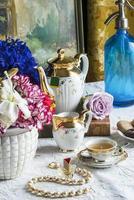 tomando chá, hora do chá, foto