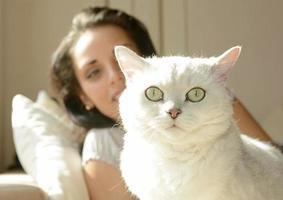 jovem mulher com gato branco foto