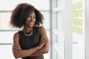retrato de uma mulher de negócios sorridente com um afro em foto