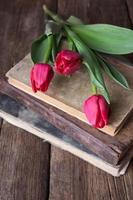 tulipas cor de rosa em uma pilha de livros antigos foto