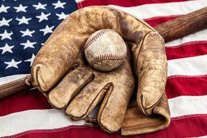 equipamento de beisebol do vintage