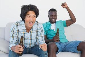 fãs de futebol torcendo enquanto assiste tv