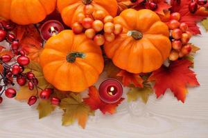 decoração de outono em madeira com espaço de cópia